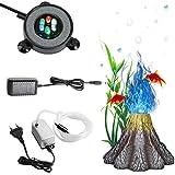 Illuminazione dell'acquario con Luce a Bolle d'aria, Kit Decorazione Acquario Vulcano con 6 LED Luce della bolla, IP68 Impermeabile Lampada a Bolle per Acquario Sommergibile con Pompa d'aria