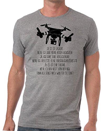 Stylotex Herren Slimfit T-Shirt Ja es ist eine Drohne, Größe:L;Farbe:Heather