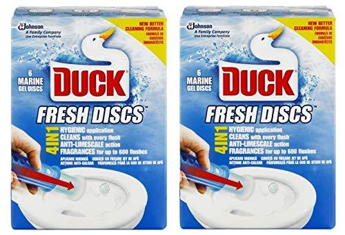 2 x Toilet Duck Fresh Discs Marine 6 Shot Toilet Gel Cleaner & Applicator by Toilet Duck