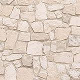 Papier peint effet pierre | Papier peint beige clair 69242-9 | Papier peint pas cher pour cuisine, couloir & salon | Papier peint trompe l'oeil