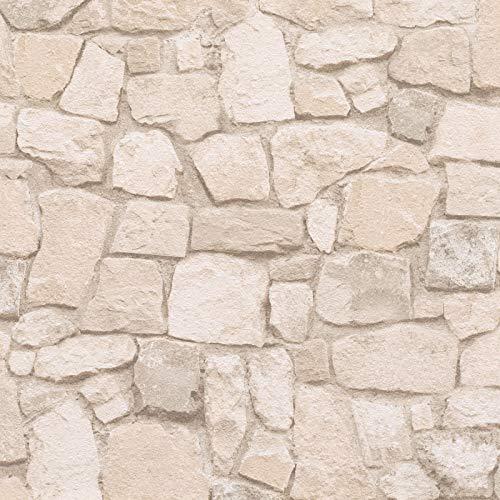 Steintapete Tapete Steinoptik Naturstein-Tapete Beige Crème Papiertapete Beige Crème | Tapeten online bei BRICOFLOR kaufen