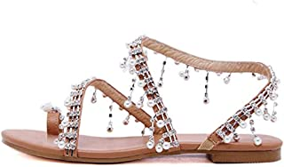 Women's Strappy Sandals Crystal with Pearl Beaded Bohemian Dress Jeweled Toe Ring Gladiator Shoes Plus-Size