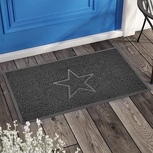 Felpudo Lavable con Forma de Estrella en Relieve para Puerta con trampas de Suciedad, Color Gris Oscuro (Parte Trasera de Goma Impermeable) pequeño (60 x 40 cm)