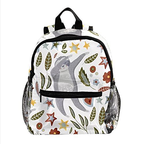 Zaino da scuola per borsa da viaggio per passeggiate all'aperto per ragazze e ragazzi Daypack DABBING Sloth Dancing Swag Flowers foglie foglie Zaino stampato