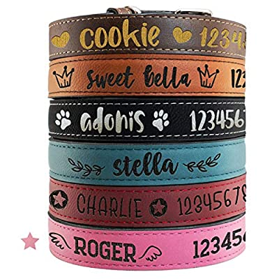 Personalized Dog Collar for Medium Dogs - Pink / 21 x 1 inches - Custom Laser Engraved Name, Phone Number, Text on Soft Leather Collar