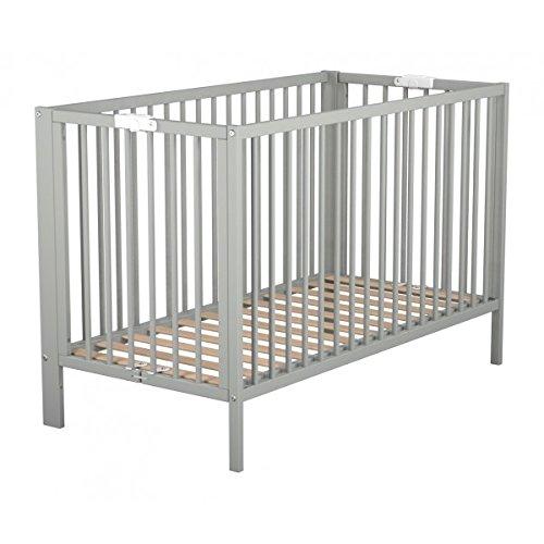 Lit bébé pliant en bois laqué gris Baby Fox sommier intégré à la structure 60 x 120 cm