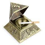 BSTKEY Cenicero vintage a prueba de viento con tapas - cenicero de mesa de diseño piramidal, boquilla para uso interior y exterior, decoración retro de hogar u oficina, bronce verde