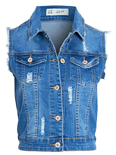 SS7 Womens Denim Gilet Jas met Distressed Rips