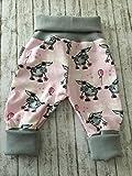 Süße Baby-Hose Pumphose newborn Mädchen Gr. 56-68 Esel grau-rosa Bio-Cotton