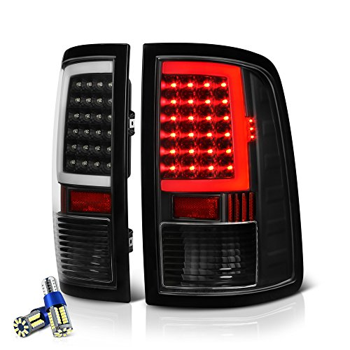 VIPMOTOZ OLED Neon Tube Tail Light Lamp For 2009-2018 Dodge RAM 1500 2500 3500 - [Factory Incandescent Model] - Full SMD LED Reverse Bulbs, Matte Black Housing, Driver & Passenger Side