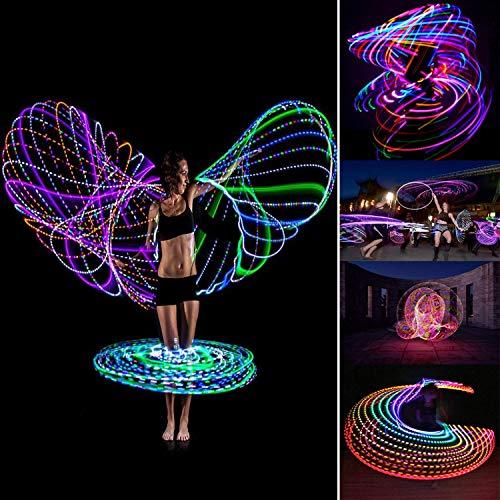 フラフープLEDライト付き有酸素運動子供用大人用シェイプアップエクササイズLEDフラフープ10色変換直径90cm収納便利お祭りパーティーイベントライブクリスマス演出(電池は含まれていません)