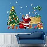 Fondo de la Pared del árbol de Navidad de Santa Claus DIY Cristal Etiqueta engomada de la Sala Compras de la Ventana Porche Mesa de Noche Decoración Wallpapers