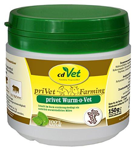 cdVet Naturprodukte privet Wurm-o-Vet 150 g - Schwein, Esel, Geflügel - Ergänzungsfuttermittel - Mangel an Kräuterinhaltsstoffen - Stärkung der Verdauung - überhöhter Wurmbesatz - Darmmillieu -