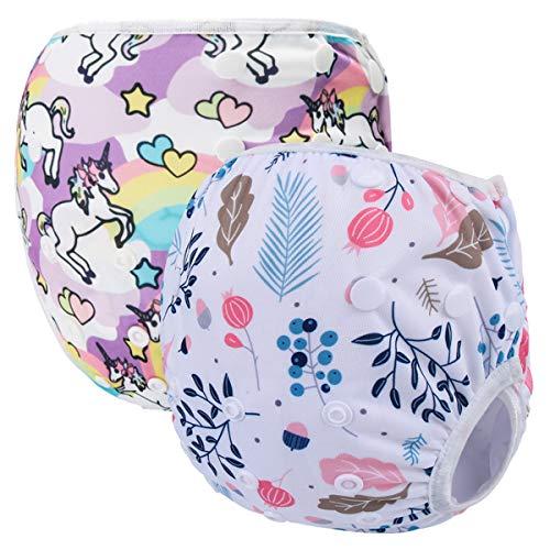 Storeofbaby Lot de 2 couches de bain réutilisables pour bébé de 0 à 3 ans, garçons et filles White Circle taille unique