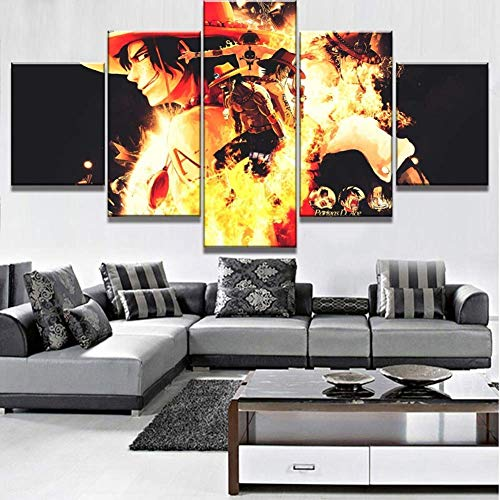 HD Prints on Canvas Picture Paintings 5 Panel Anime Monkey D. Luffy Poster Print Canvas Painting Wall Decor for Home Decor,N,30x502+30x702+30x801