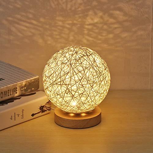Viitech Kreativ LED-nattlampa, romantisk stjärnhimmel projektion med handstickad lampskärm och dekorativ sängbordslampa på träbas för vardags-matsal D-dekor