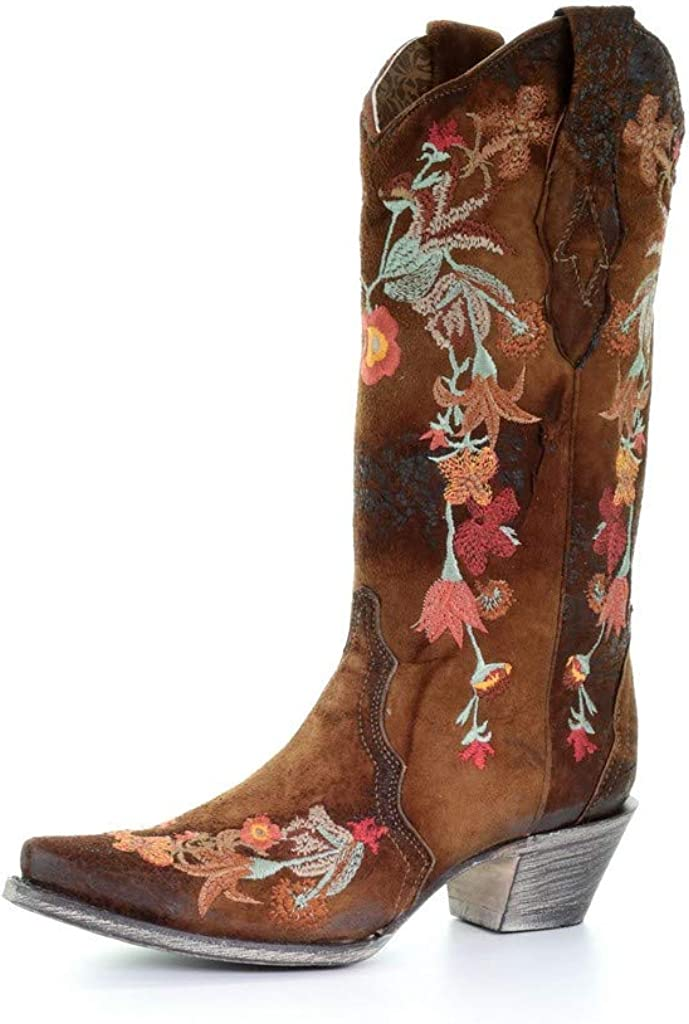CORRAL Women's Floral Embroidered Lamb Leather Cowgirl Boot Snip Toe - A3597