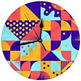 Reloj de Pared Moderno Vintage Retro Bauhaus Style Seamles Reloj Redondo Decorativo silencioso