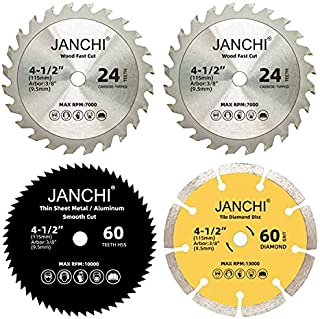 """4 Pack Combo 4-1/2 Inch Compact Circular Saw Blade Set with 3/8"""" Arbor, 24T TCT /60T HSS /60# Diamond Disc Blade for Wood/..."""