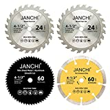 4 Pack Combo 4-1/2 Inch Compact Circular Saw Blade Set with 3/8' Arbor, 24T TCT...