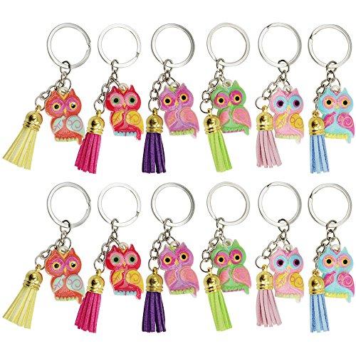 com-four® 12 Schlüsselanhäneger Eule, Lederbommel, ideal als Mitgebsel oder für Geburtstage (12 Stück)
