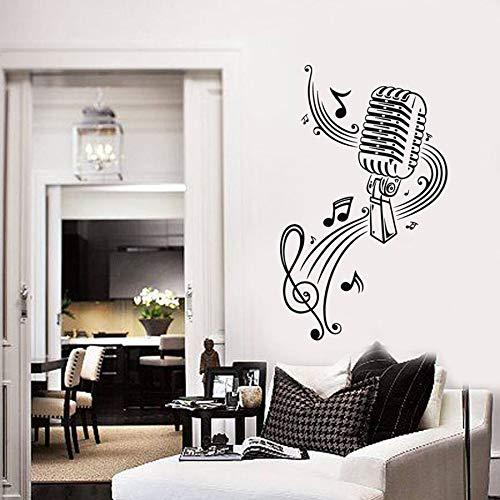 Calcomanías de vinilo para pared micrófono nota musical arte decoración de interiores pegatinas dormitorio sala de música K mural de estilo fresco