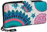 styleBREAKER Monedero con Motivo de Flores étnicas y floración, diseño Vintage, Cremallera, Mujeres 02040040, Color:Blanco-Azul-Turquesa