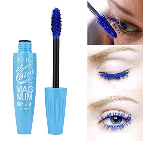 gaddrt Neue lange Curling Makeup Wimpern Multicolor wasserdichte Faser Mascara Wimpern (Blau)