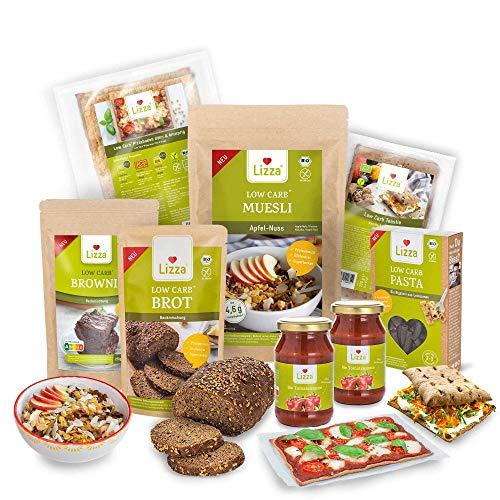 Lizza Low Carb Starter Box| Bis zu 94% weniger Kohlenhydrate | Keto-, Atkins- & Diabetikerfreundlich | Bio. Glutenfrei. Vegan. | Pizza, Toasties, Brot, Pasta, Brownie & Müsli (25 Portionen)