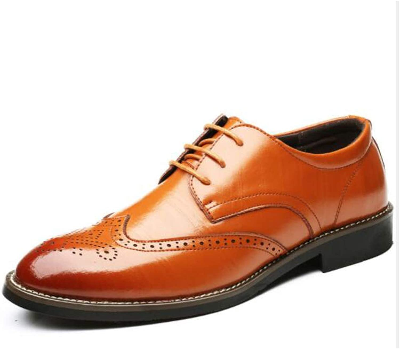 LCM Big size men's shoes business formal leather shoes men's breathable wear-resistant anti-skid men's shoes,Yellow,8UK