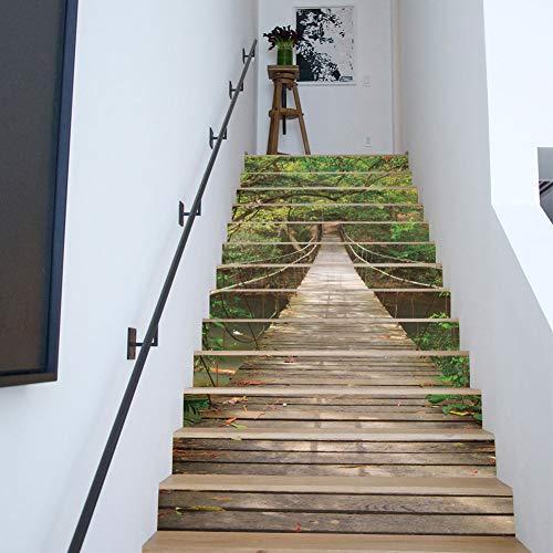 sticker mural LQF Escaliers Autocollants, Stickers Paysage Créatif Forêt Suspension Pont Treize Escaliers Imperméables Autocollants Maison Créative Art Décor Bureau À La Maison Chambre Salle De CLAS