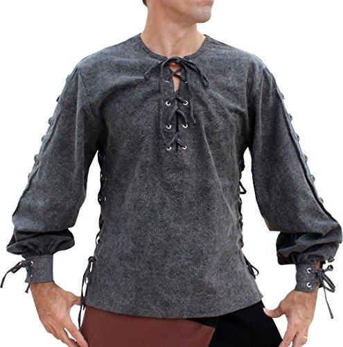 Svenine Camisa de algodón estilo medieval con manga con botones, disfraz de pirata del Renacimiento,  negro (Stonewash Black), Small