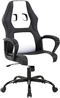 BestOffice Office Chair Gaming Desk Racing Gaming Chair High Back Computer Chair Task Swivel Executive Seat Leather Chair for Home Office (White)