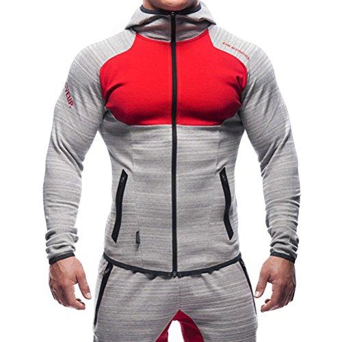 SHTH Herren Sweatjacke mit Kapuze, Kapuzenjacke Zip Hoodie für Gym Fitness Training(Grau+Rot,M)