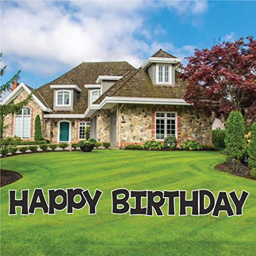 Happy Birthday Letters Yard Card, KG The Last Time, 18 Inches High, 13pcs Includes Stakes Waterproof Corrugated Plastic (Black 12566)