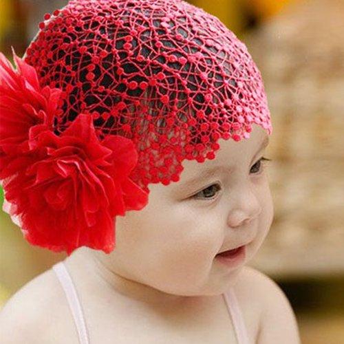 Bébé rouge de fleur de pivoine dentelle large bandeau élastique de bande de cheveux Chapeaux