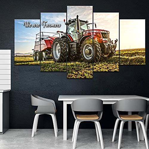 Decoración del hogar impresa lienzo moderno sala de estar imágenes HD 5 paneles Massey Ferguson paisaje pintura modular cartel de pared(With Frame size)