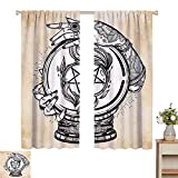 Wear Pole Curtains Kids Room Curtains Illustration of Medium Crystal Ball for Mystery with Tattooed Hands Future Psychic Tan Black Decorative Shading Set of 2 Panels W72 x L84