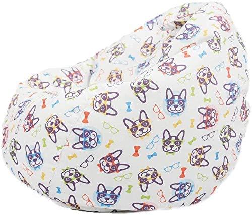 yxx Sitzsack Leinwand Gefüllte Tierspeicher Beinbeutel-Stuhl Kinder Plüschtier-Spielzeug-Bettdecken-Quilts-Organizer (Color : Dog with Glasses, Size : 60cm*75cm)
