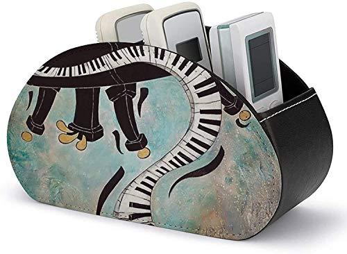 YLB Fernbedienungshalter PU-Leder Cool Piano Music Keyboard Malerei Organisation und Lagerung mit 5 geräumigen Fächern für TV-Remotes/Medienregler/Bürobedarf