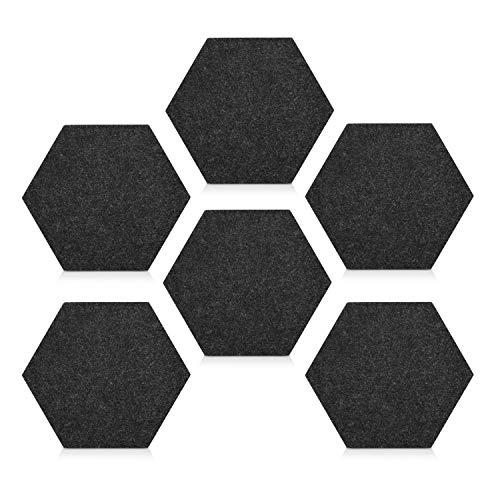 Navaris Filz Memoboards Set sechseckig - 6x Filz Pinnwand 15x17,7x1,5cm mit Pinnnadeln und Klebeband - Pinwand für Kinderzimmer Büro - Dunkelgrau