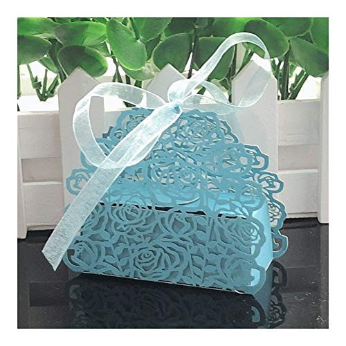 10pcs Rose Flor en Forma de Hueco del Carro Bolsas de Regalo Cajas del Caramelo con la Cinta bebé Ducha de la Boda Favores Fiesta Presents (Color : Deep Blue, Gift Box Size : 7.5x4.5x6.5cm)