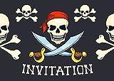 Edition Colibri Lot de 10 Cartes d'Invitation Pirates en Français pour Un Anniversaire d'Enfant, Une Chasse au trésor ou pour Une fête des Pirates des (10966 FR)