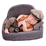 Baby Photography Props Newborn Boy Photo Shoot Outfits Infant Gentleman Suit Lattice Outfit Hats (Coffee)