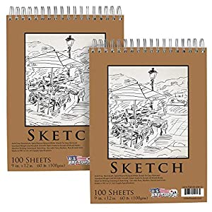 Acid Free, Neutral pH, Spiral Bound Natural White Sheets for Easy Removal Standard Weight and Versatile Smooth Paper made to Accept all Mixed Media Ideal for Writing, Drawing & Sketching. Use with Pens, Markers, Pencils and more Pack of 2 Pads