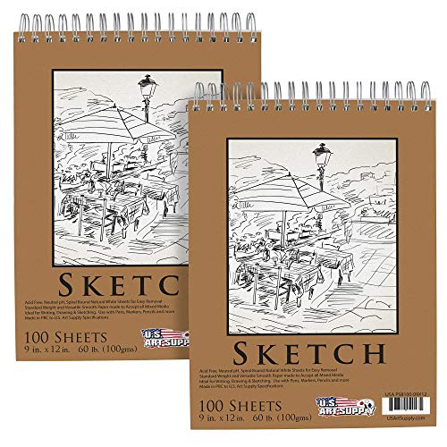 "U.S. Art Supply 9"" x 12"" Premium Spiral Bound Sketch Pad, (Pack of 2 Pads) Each Pad has 100-Sheets, 60 Pound (100gsm) (Pack of 2 Pads)"