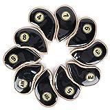 Xndz Cubiertas para Palos de Golf, con Material de Tela de Cristal PU, Color Popular Negro y diseño de números, Cubierta de Hierro para Palos de Golf, Recorrido de Viaje para el hogar al Aire