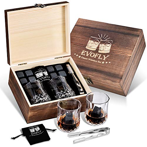 Gifts for Men Dad Grandpa, Whiskey Stones Gift Set, Cool Unique Birthday Gifts Ideas for Him Boyfriend Husband, Christmas Anniversary Wedding Retirement, Scotch Bourbon Glasses