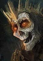 番号でDiyペイント大人のデジタルカラフルな頭蓋骨のスケルトン絵画家の装飾のための家の工芸品