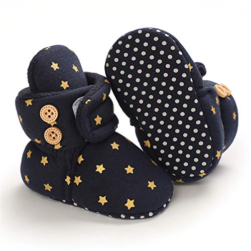 BENHERO Newborn Baby Boys Girls Cozy Fleece Stay on Booties with Grippers Infant Slippers Winter Socks Non Skid Crib Shoes (6-12 Months Infant, X/Navy)